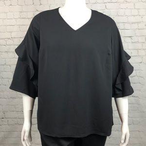 Alfani Black Ruffle Sleeve Blouse Plus Size 1X